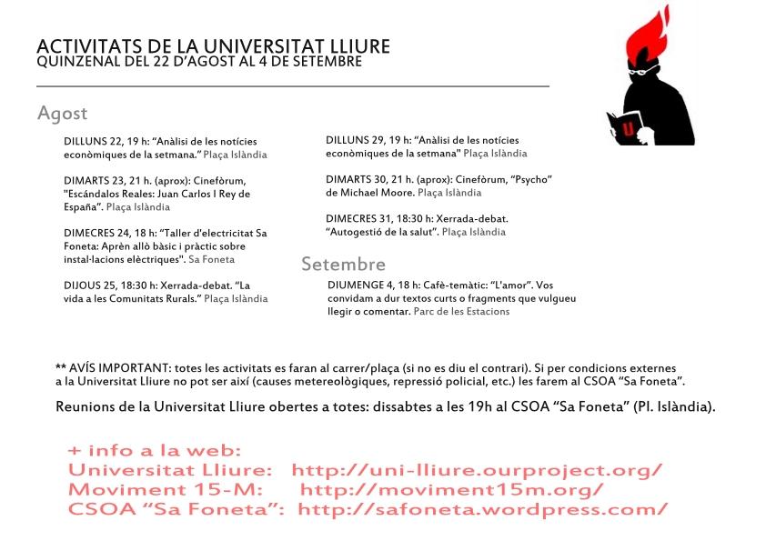 Activitats de la Universitat Lliure (agost i setembre)