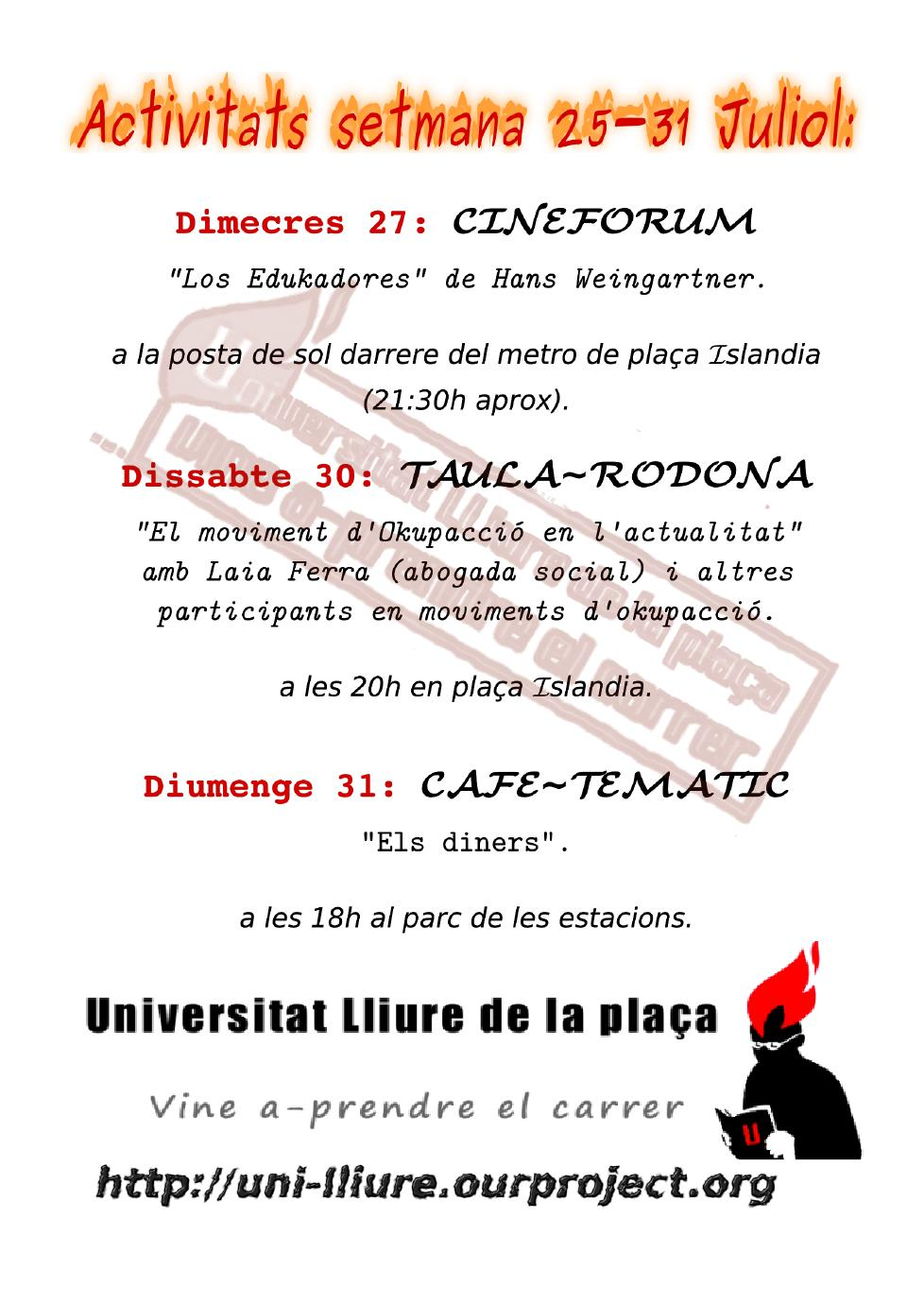 Activitats Universitat Lliure de la setmana 25-31 de juliol