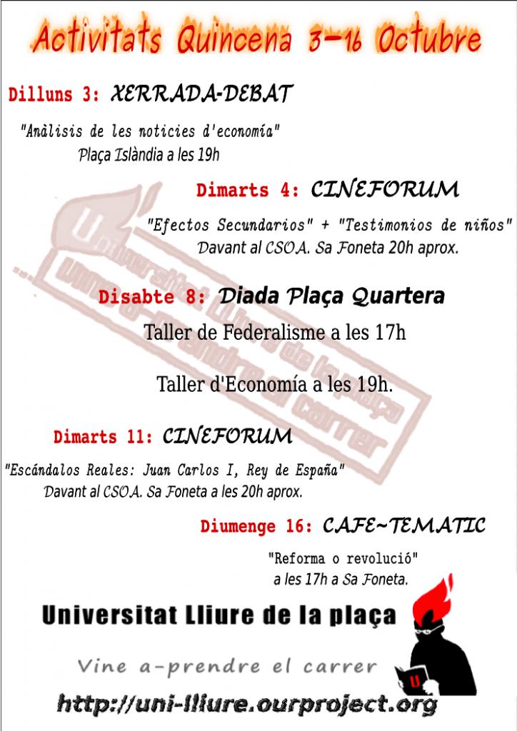 Activitats de la Universitat Lliure per a la quinzena del 3 al 16 d'octubre